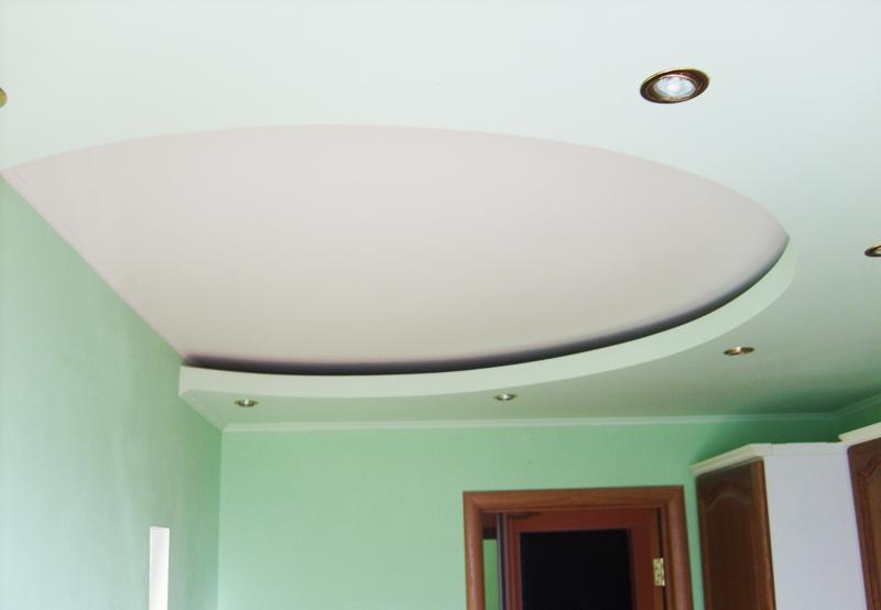 двухуровневый потолок на кухне из гипсокарона