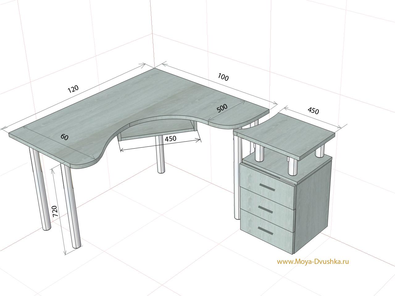 чертежи компьютерно письменных столов угловых